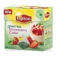 Чай зеленый Lipton Strawberry Cake (клубнич. пирож) в пирамидках 20*1,8 гр