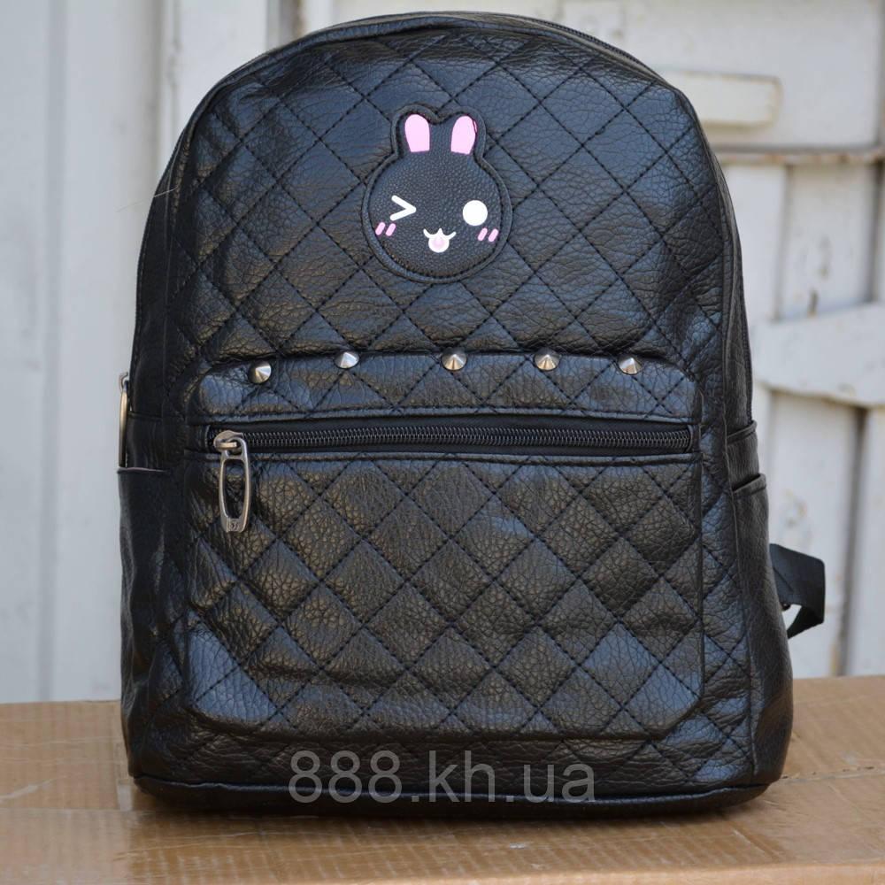 Женский мини рюкзак кожзам кожа кожаный черный