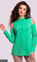 Женская асимметричная блуза свободного фасона со стразами и вырезами на плечах шифон