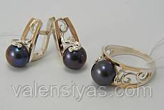 Красивый серебряный гарнитур с черным жемчугом и золотыми вставками