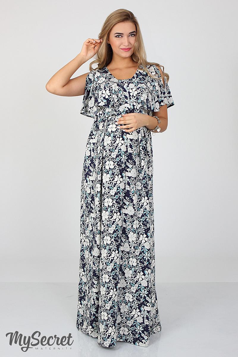 429b406138af Шикарное длинное платье для беременных и кормления Paradise, цветы на на  синем, фото 1
