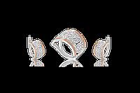 НАБОР серебряные серьги 925 пробы и кольцо с золотыми пластинами 375 пробы,вставками,накладками ЗОЛОТА АДРИАНА