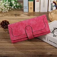 Женский кошелек из нубука розовый, фото 1