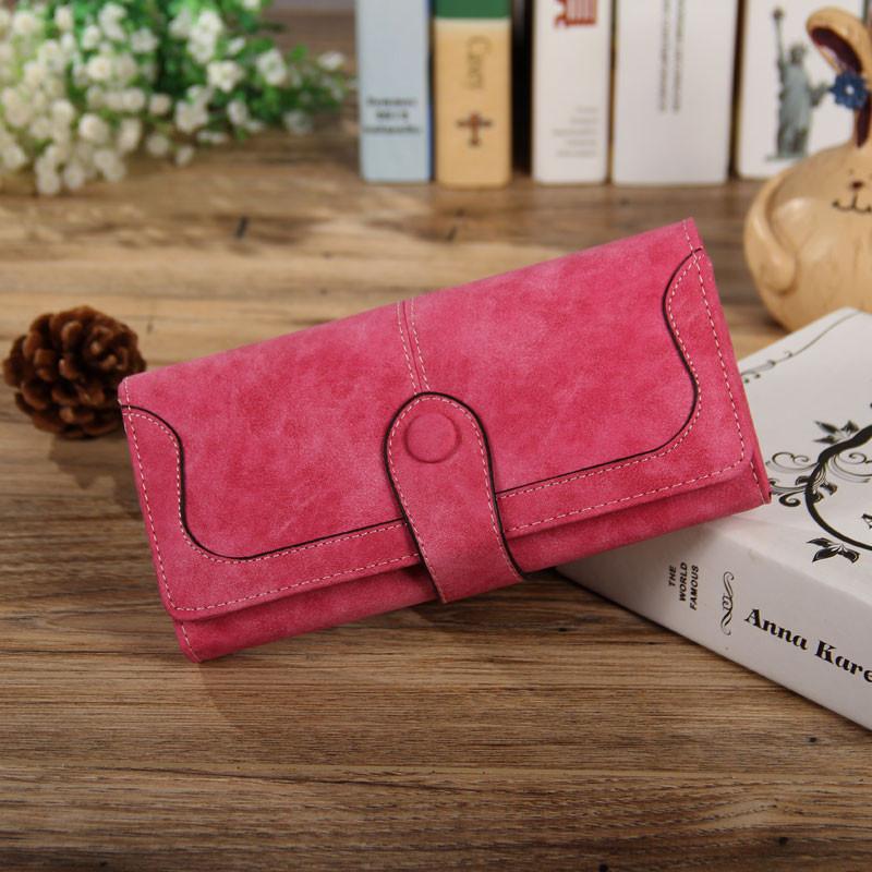 Женский кошелек из нубука розовый