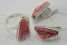 Комплект серебряных украшений с розовым ларимаром