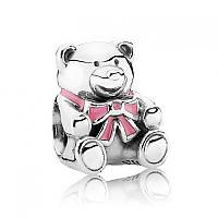 Шарм «Медвежонок девочка» из серебра Pandora, 791124EN24