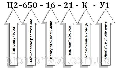 Умовне позначення редуктора Ц2-650