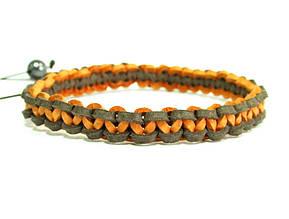 Браслет из кожи. Коричневый + оранжевый. Шамбала