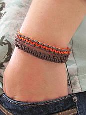 Браслет из кожи. Коричневый + оранжевый. Шамбала, фото 3