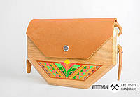 Сумка ручной работы, деревянная сумка, сумка ручной работы из кожи и дерева, фото 1