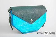 Сумка ручной работы, деревянная сумка азурного цвета, сумка ручной работы из кожи и дерева, фото 1