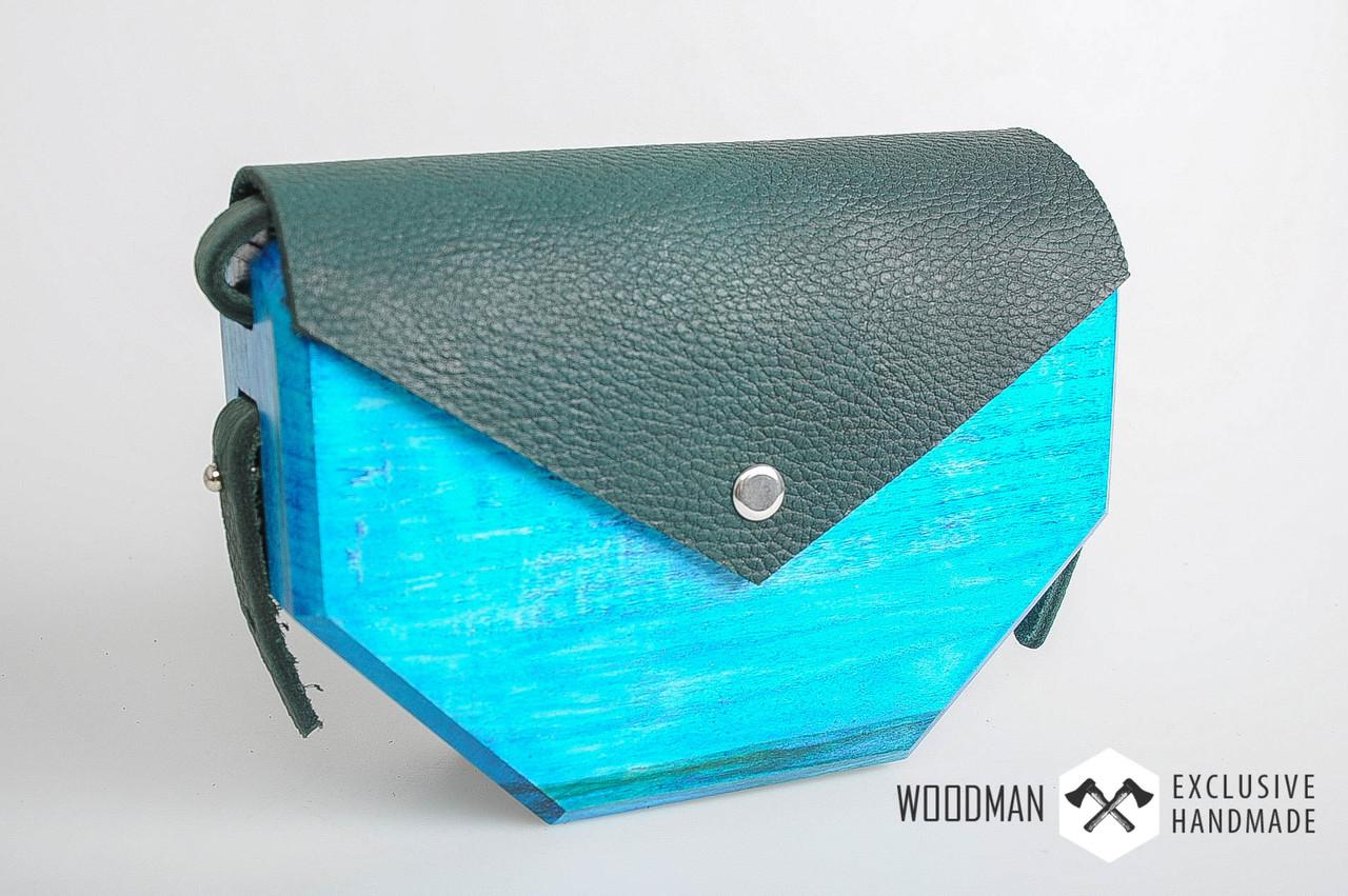 2c68c0c0d1b6 Сумка ручной работы, деревянная сумка азурного цвета, сумка ручной работы  из кожи и дерева