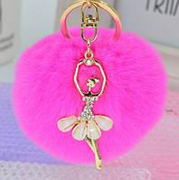 Шикарный брелок с балеринокой, мех натуральный шиншила, цвет малиновый
