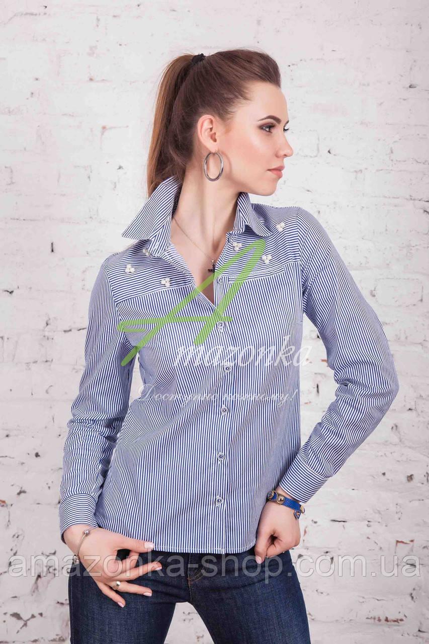 Брендовая женская блузка-рубашка от производителя весна 2017 - (код бл-83)