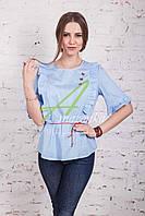 Женская блузка от производителя с бабочками весна 2017 - (код бл-144)
