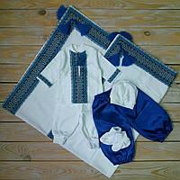 Хрестильний набір для хлопчика (трикотажний набір с 2 штанцями+крижма)