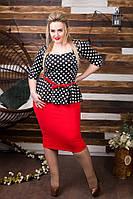 Платье с баской, принг-горох, пояс красного цвета в комплекте