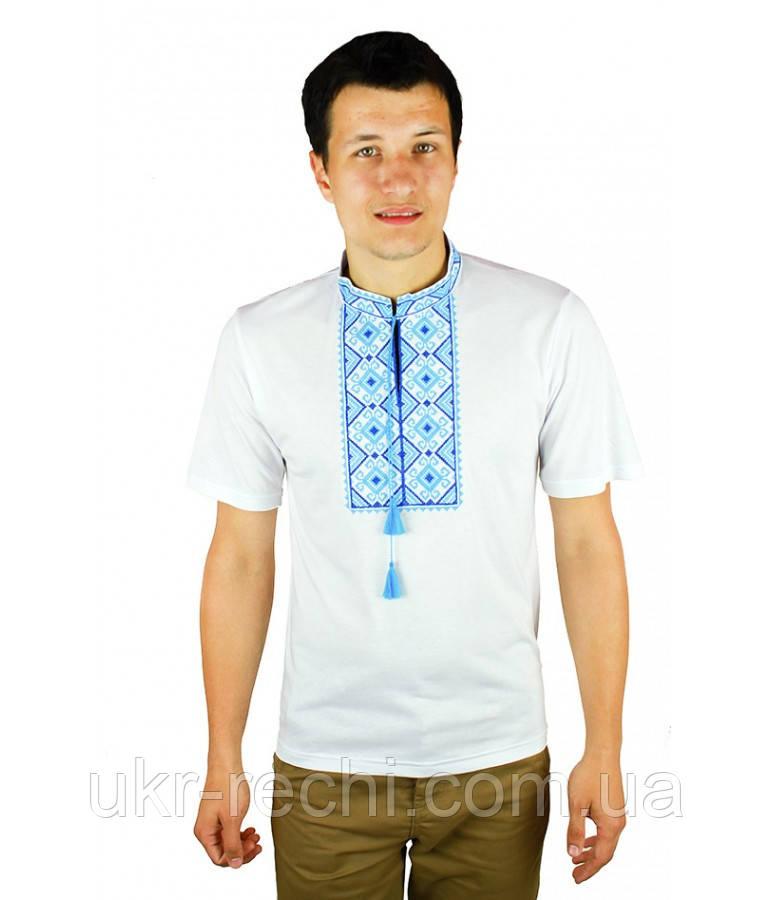 Біла вишита футболка з голубим узором
