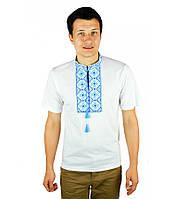 Біла вишита футболка з голубим узором, фото 1