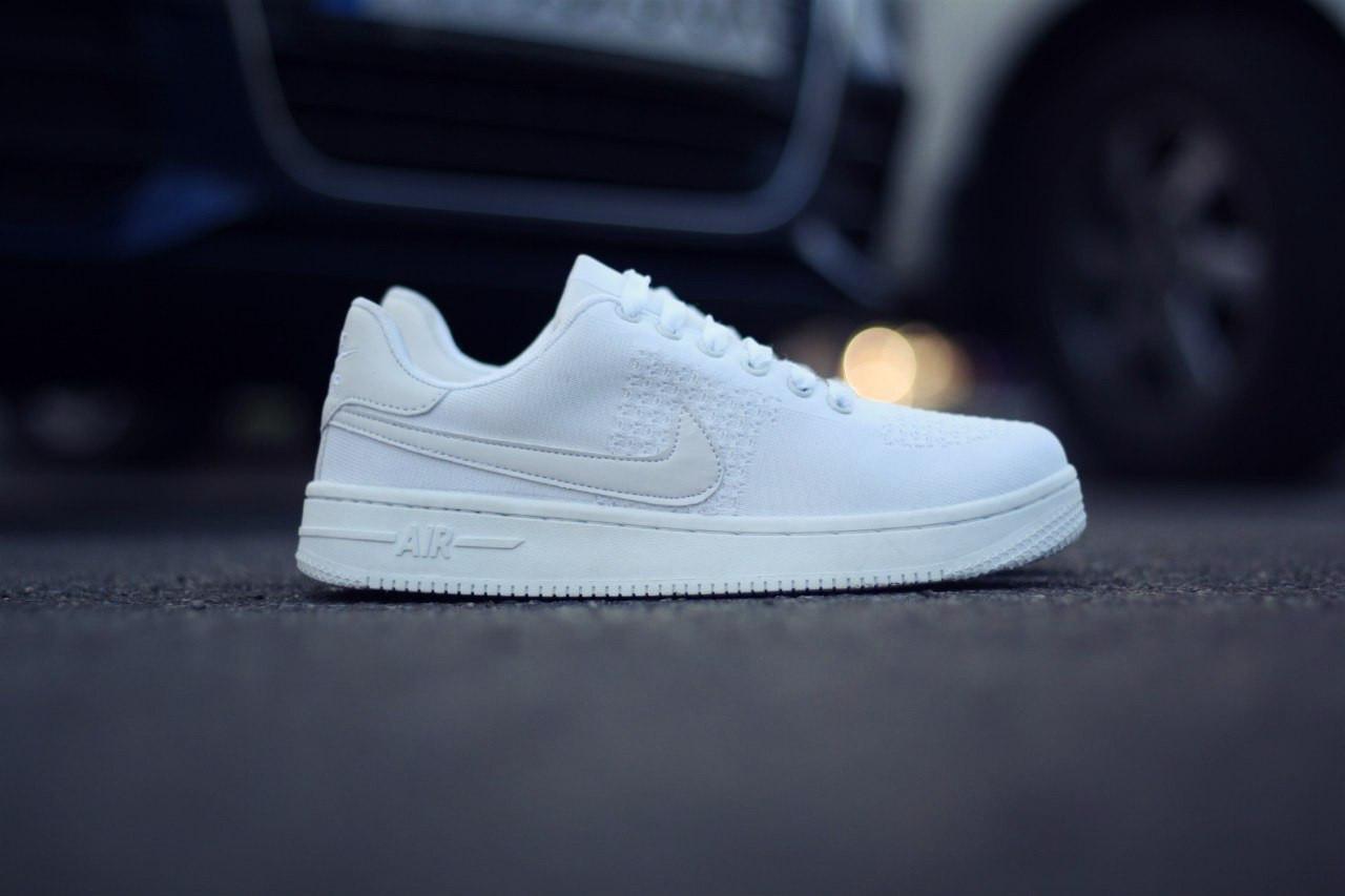 0ac302de Кроссовки в стиле Nike Air Force 1 Ultra Flyknit Low All White мужские -  Интернет-