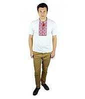 Біла вишита футболка з червоним узором