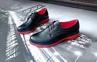 Туфли женские на красной подошве без каблука