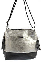 Стильная оригинальная наплечная женская сумка с серебряной лицевой частью KISS ME art. C-083 черная