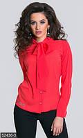 Однотонная женская блуза прямого фасона на пуговицах с крупным бантом рукав длинный коттон