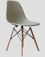 Тауэр вуд серый пластик, буковые ножки, точная копия дизайнерского стула Charles Eames DSW