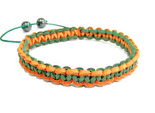 Браслет из кожи. Зеленый + оранжевый. Шамбала