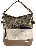 Стильная наплечная вместительная женская сумка с оригинальной лицевой частью  KISS ME art. 089 светло коричнев