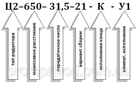 Условное обозначение редуктора Ц2-650