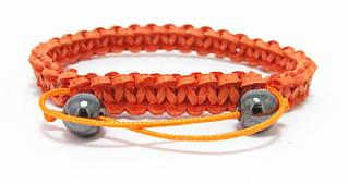 Браслет из кожи. Оранжевый. Шамбала