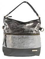 Стильная наплечная вместительная женская сумка с оригинальной лицевой частью  KISS ME art. 089 светло серый