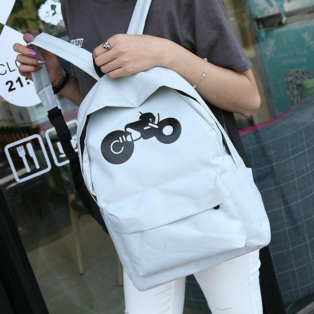 Модный рюкзак с принтом мотоцикла