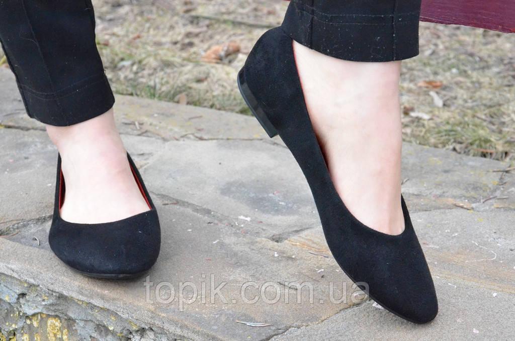 Балетки, туфли женские искусственная замша черные удобные (Код: 462а)