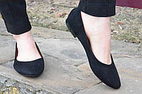 Балетки, туфли женские искусственная замша черные удобные