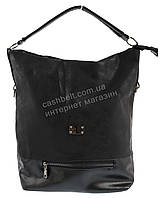 Стильная наплечная вместительная женская сумка с оригинальной лицевой частью  KISS ME art. Q721 черный