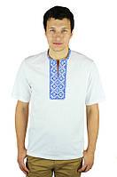 Біла вишита синім узором футболка