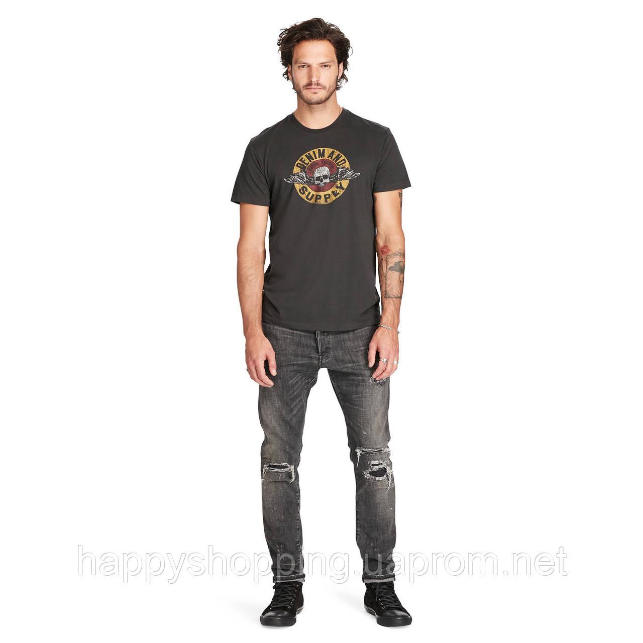 Темно-серая футболка с принтом Ralph Lauren