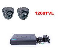 Комплект видеонаблюдения  2х камер 1200TVL DVR H960+