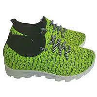 Подростковые/детские кроссовки 001 C черно-салатовый