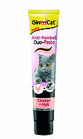 Паста для виведення шерсті Gimcat Anti-Hairball Duo Paste Chicken & Malt для кішок з куркою, 50 г