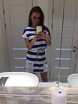 """Приталенное летнее мини-платье в полоску """"Marine"""" с карманами и коротким рукавом (3 цвета), фото 3"""