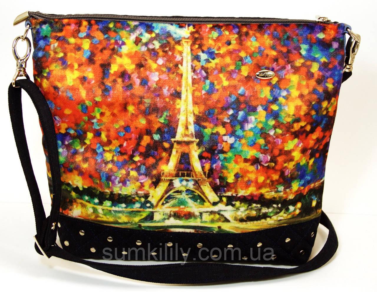 Джинсовая стеганная сумочка Эйфелевая башня
