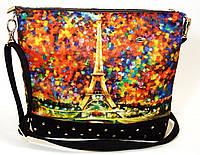 Джинсовая стеганная сумочка Эйфелевая башня, фото 1