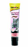 Паста для выведения шерсти Gimcat Anti-Hairball Duo Paste Chicken & Malt для кошек с курицей, 200 г, фото 1