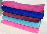 Банное однотонное полотенце микрофибра-велюр