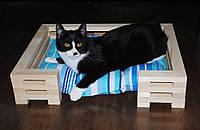 Спальное место для кошек и собак Lukoshko Natural с матрасиком Sonno Blue
