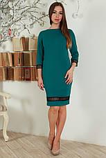Нарядное приталенное платье декорировано кружевной тесьмой, фото 3